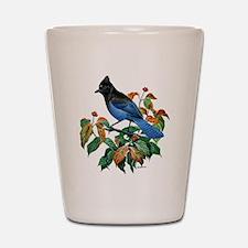 A Blue Stellers Jay in Dogwood Tree Shot Glass