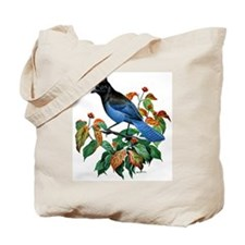 A Blue Stellers Jay in Dogwood Tree Tote Bag