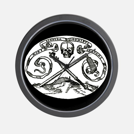 Skull & Scepter/black Wall Clock