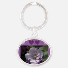 African Violet Oval Keychain
