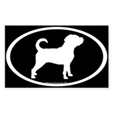 Puggle Dog Oval (white on black) Oval Decal
