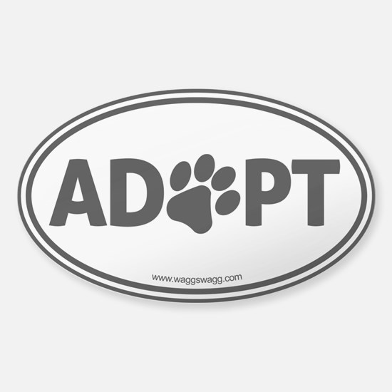 ADOPT with a Paw Sticker (Oval)