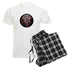 Caffeine Molecule Red Button Pajamas