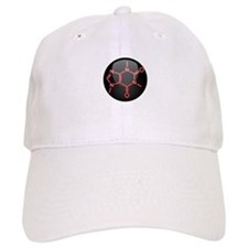 Caffeine Molecule Red Button Baseball Cap