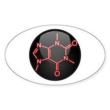 Caffeine Molecule Red Button Decal