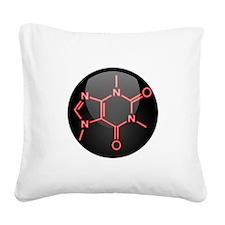 Caffeine Molecule Red Button Square Canvas Pillow