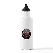 Caffeine Molecule Red Button Water Bottle