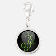 LSD molecule button Silver Round Charm