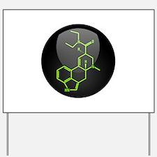 LSD molecule button Yard Sign