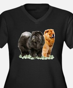 red and black chows Women's Plus Size V-Neck Dark