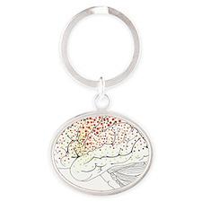 Brain anatomy, artwork - Oval Keychain