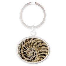 Fossilised nautilus shell - Oval Keychain