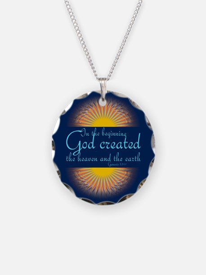 Genesis 1 1 Bible Verse Sunrise Necklace