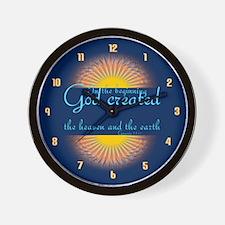 Genesis 1 1 Bible Verse Sunrise Wall Clock