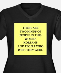 korea Women's Plus Size V-Neck Dark T-Shirt