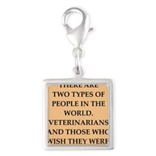 vets Silver Square Charm