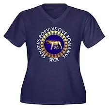 Imperial Rom Women's Plus Size V-Neck Dark T-Shirt