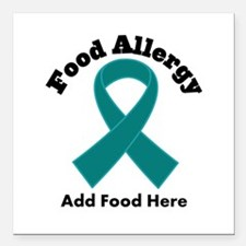"Personalized Food Allergy Square Car Magnet 3"" x 3"