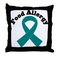 Food Allergy Teal Ribbon Throw Pillow