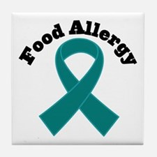Food Allergy Teal Ribbon Tile Coaster