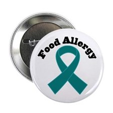 """Food Allergy Teal Ribbon 2.25"""" Button"""