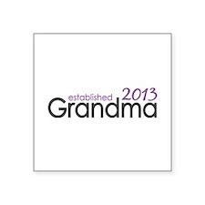 """New Grandma Est 2013 Square Sticker 3"""" x 3"""""""