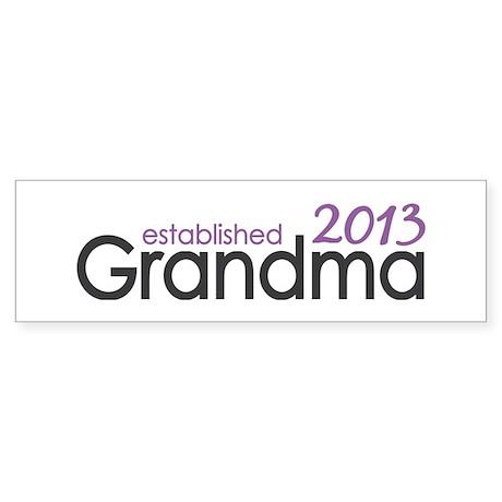 New Grandma Est 2013 Sticker (Bumper)