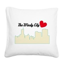 Windy City Chicago Square Canvas Pillow