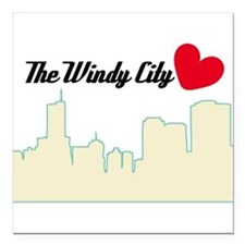 "Windy City Chicago Square Car Magnet 3"" x 3"""