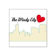 "Windy City Chicago Square Sticker 3"" x 3"""