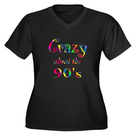 Crazy About The 90s Women's Plus Size V-Neck Dark
