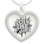 Join Fight Carcinoid Cancer Silver Heart Necklace