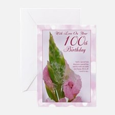 100th Birthday Card With Pink Flower (Pk of 10)