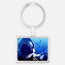 Megalodon prehistoric shark - Landscape Keychain