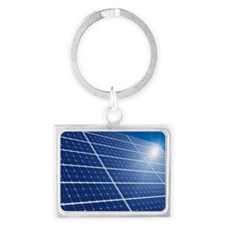 Solar panels in the sun - Landscape Keychain