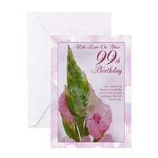 99th Birthday Card With Pink Flower