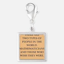 math Silver Square Charm