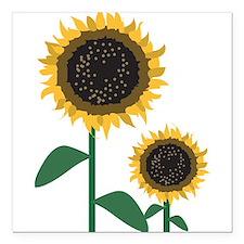"Sunflowers Square Car Magnet 3"" x 3"""