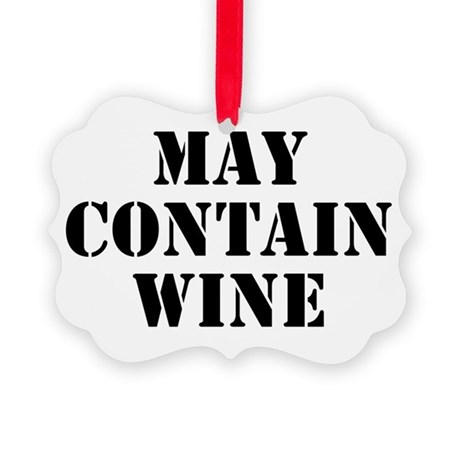 May Contain Wine Picture Ornament
