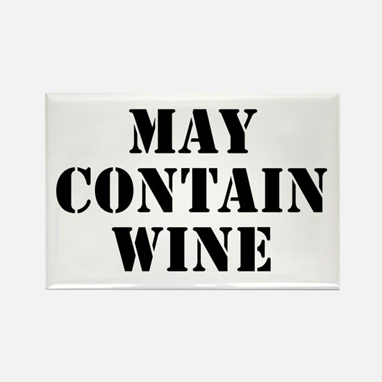May Contain Wine Rectangle Magnet
