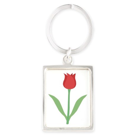 Dark Red Tulip. Portrait Keychain
