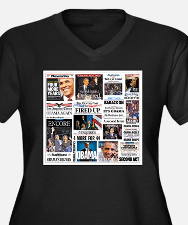Obama Inauguration Women's Plus Size V-Neck Dark T