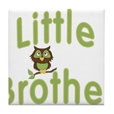 Little Brother Hoot Owl Tile Coaster