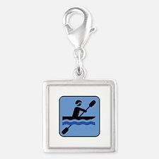 Kayak - Kayaking Silver Square Charm