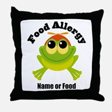 Personalized Food Allergy Frog Throw Pillow