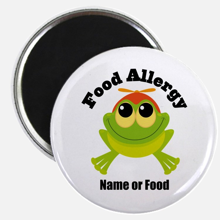 """Personalized Food Allergy Frog 2.25"""" Magnet (100 p"""