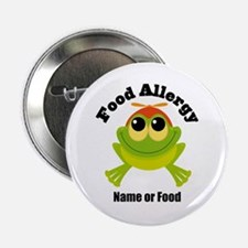 "Personalized Food Allergy Frog 2.25"" Button"