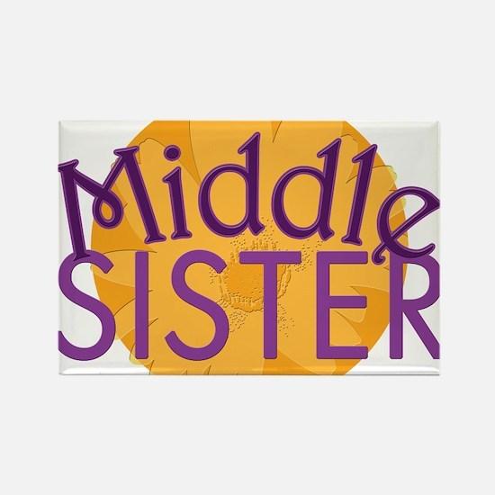Middle Sister Purple Orange Rectangle Magnet