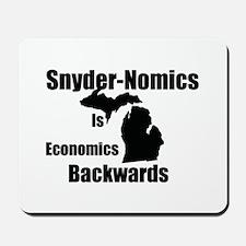 Snyder-Nomics Is Economics Backwards Mousepad
