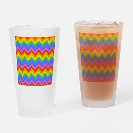 Rainbow Chevron Pattern. Drinking Glass